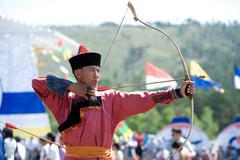 mongolian archer - stock photo
