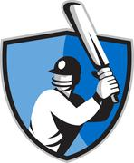 Stock Illustration of cricket player batsman with bat shield