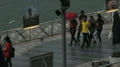 Hong Kong boardwalk Stock Footage