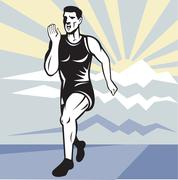 marathon runner jogger fitness running front - stock illustration