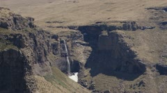 A waterfall in the Lesotho Maluti Mountains Stock Footage