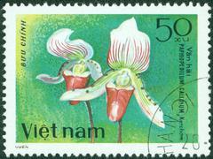 Stamp printed in Vietnam shows orchid Paphiopedilum Gallosum Stock Photos