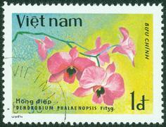 Stamp shows image of a Dendrobium Stock Photos