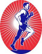 marathon runner jogger fitness running side - stock illustration