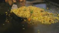 Japanese hibachi grilling - mixing and serving fried rice - stock footage