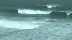 Large Hurricane Waves Swells Crash Ashore Stock Footage
