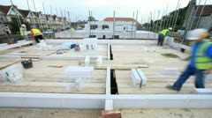 Bricklayers on construction site (time lapse) Stock Footage