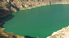 Boomerang camera fly over Quilotoa crater and returns, time lapse Stock Footage