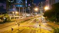 Street traffic in Hong Kong at night, timelapse Stock Footage
