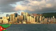 Stock Video Footage of Sunset at Hong Kong harbour, timelapse