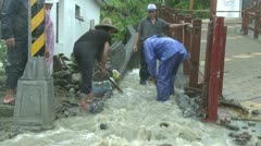People Struggle In Flash Flood Waters - stock footage
