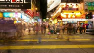 Street traffic in Hong Kong at night, timelapse Stock Footage