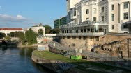 Urania observatory at the Danube canal in Vienna Stock Footage