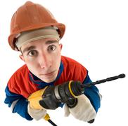 Laborer with drill Stock Photos