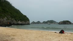Beach on a Cat Ba island Stock Footage