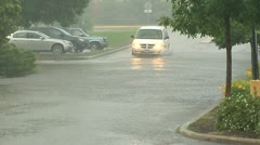 Flooded Lot Drive Through Stock Footage