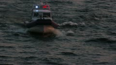 police boat in dusk - stock footage