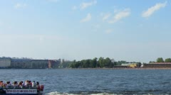 Peter and Paul fortress on Neva river in st. Petersburg - timelapse Stock Footage
