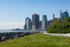 view of lower manhattan in new york - stock photo