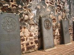 old colonial graves of 17th century - stock photo