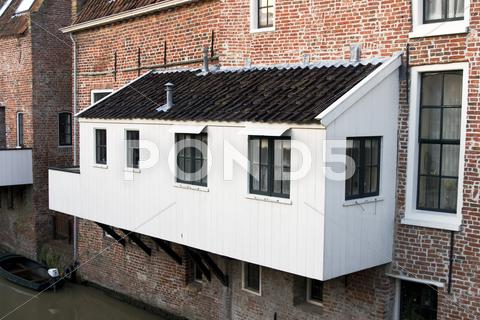 Stock photo of exterior kitchen in medieval building