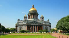 Isaakiy cathedral church in Saint-petersburg, Russia Stock Footage