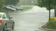 Car on flooded street Stock Footage