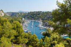 calanque of port miou in cassis - stock photo