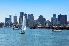 boston skyline from east boston, massachusetts - stock photo
