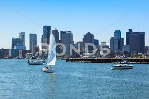 Stock photo of boston skyline from east boston, massachusetts