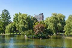 Stock Photo of view of the common park lake in boston