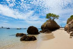 beautiful beach of setubal in portugal - stock photo