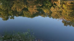 HD Stock Footage - 1080p Beautiful Fall trees reflecting in calm lake - golden Stock Footage
