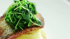 Salmon Polenta dish Turn Stock Footage