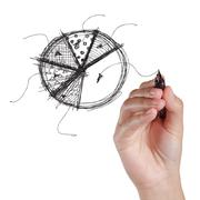 Stock Illustration of hand drawing pie on a white