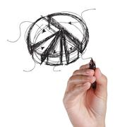 Stock Photo of hand drawing pie on a white