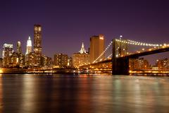 new york - manhattan skyline by night - stock photo