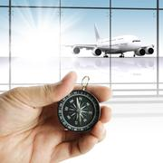 hand holds the compass showing the right direction - stock illustration