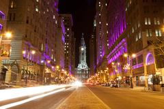 philadelphia streets  by night - stock photo
