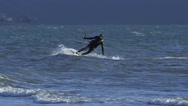 Kite Surfer Close Carving a Line Slow Motion Stock Footage