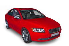 red compact hybrid - stock photo