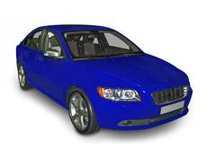 blue compact hybrid - stock photo