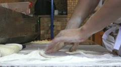 Man hands preparing pizza dough Stock Footage