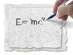 Stock Illustration of hand drawing e=mc2 on paper