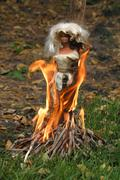 Creepy Barbie doll on Fire, Witch Tied to the Stake and Burned Stock Photos