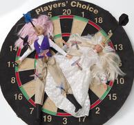 Two Barbie Dolls in Wedding Dress and Office Wear on Dart Board with Darts - stock photo