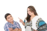 Mother scolding her son isolated on white background Stock Photos