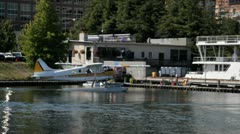 Seaplane taxi in Lake Union, Seattle Stock Footage