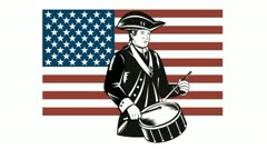 American Patriot Drummer Stars and Stripes Flag - stock footage