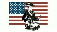 American Patriot Drummer Stars and Stripes Flag Stock Footage